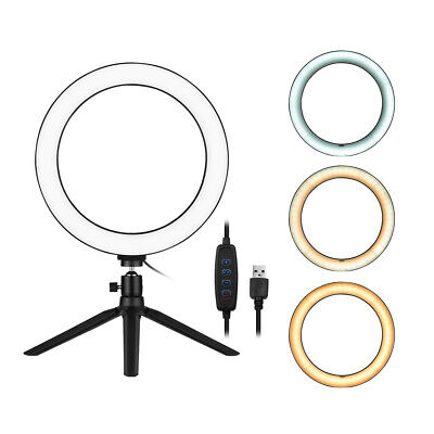 """10"""" LED Ring Light Dimmable 3200K-5500K with Tripod Stand for Selfie Video Live"""