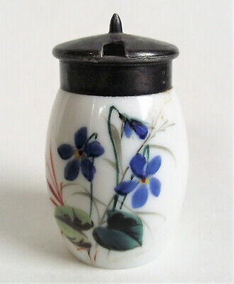 Antique MT WASHINGTON Victorian OPAQUE ENAMEL Opal Art Glass MUSTARD JAR POT