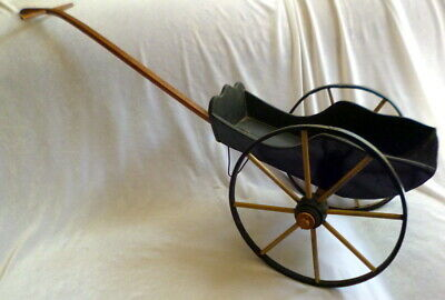 Antique Large Wooden Doll Carriage Wagon Pull Toy Folk Art For Doll Display!