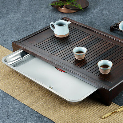 ebony tea tray with stainless steel layers wooden tea table for kungfu tea set
