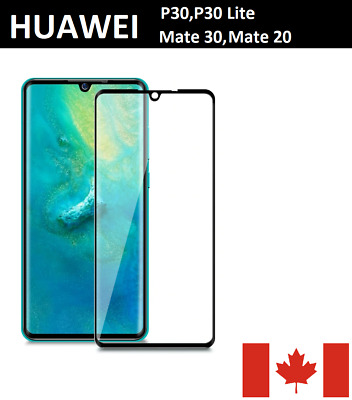 Huawei P30, P30 Lite, Mate 20 Full Cover Tempered Glass Screen Protector