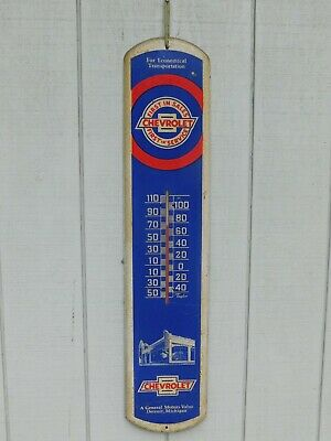 Replica Chevy tin thermometer, works