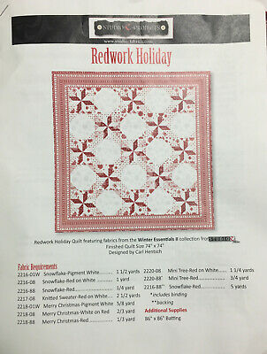 "Christmas Redwork Holiday Quilt Kit Finished Size 74"" X 74""  #21232"