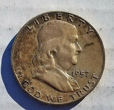 1957p Franklin Half Dollar 50 Cent Fifty Cents US 90% Silver Coin 1957 USA