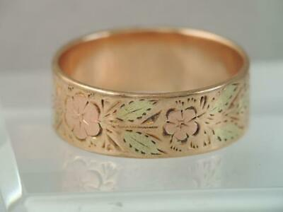 Antique Victorian Wide Solid 10K Rose Gold Engraved Flower Wedding Band Ring