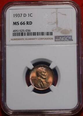 1937-D Denver Mint Lincoln Wheat Cent NGC Graded MS 66 RD