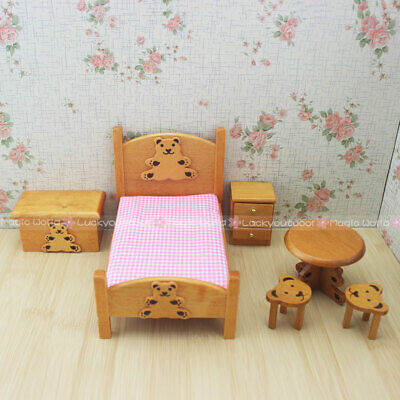 Kids Bedroom Crib Bed Baby Table Bench Stool 1:12 Dollhouse Miniatures 6pc Set