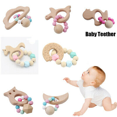 Bracelets Wooden Teething toys Baby Teething Ring Cartoon Animal Rattles