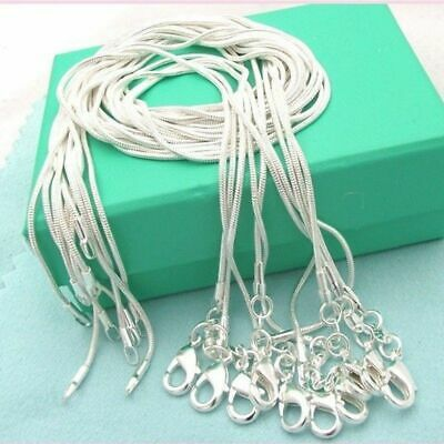 10PCS 925 Sterling Solid Silver Snake Chain Necklace For Pendant Making Jewelry