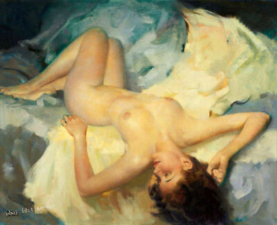 """Wall Decor Art Nude Woman in Bed Oil painting HD Printed on canvas 16""""x20"""" P1004"""