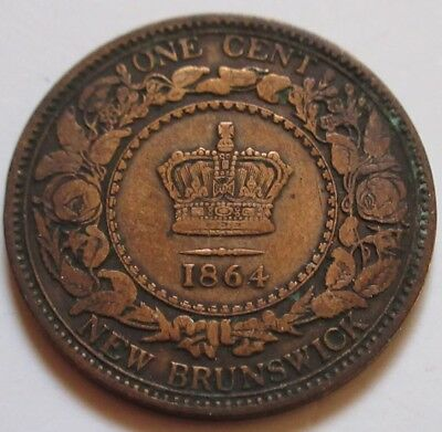 1864 New Brunswick Large Cent Coin. BETTER GRADE (RJ414)