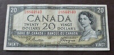 1954 Devils Face Bank Of Canada $20 Dollars Note, Circulated Condition, Lot#236