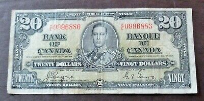 1937 Bank Of Canada $20 Dollars Note, Circulated Condition, Lot#237