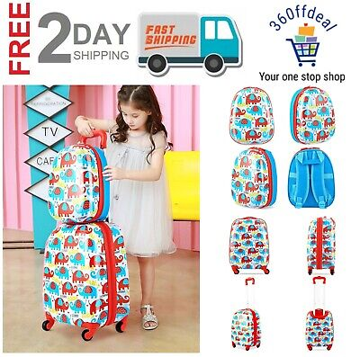 2 Pcs 12 And 16 Kids Luggage Set Backpack Suitcase Travel Rolling Luggage Bag