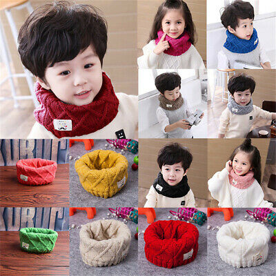 Winter Warm  Wrap Girl  Solid Color Boy Scarf Knitted   Neck Warmer Baby Scarf