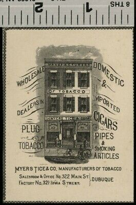 Myers Tice Tobacco Company; Dubuque Iowa SMALL View; Authentic 1875 Item