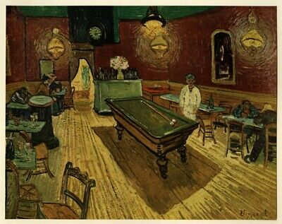 The Night Cafe; by Vincent Van Gogh: Tipped in Art Book Plate 1952 (Abrams)