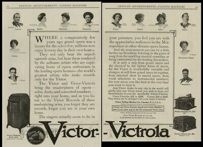 Victor Victrola & Record Stars: Caruso, Amato, Homer, ++  1912 TWO Full Page Ads