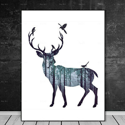Abstract Deer Canvas Painting Animal Wall Art Picture Poster Home Decor