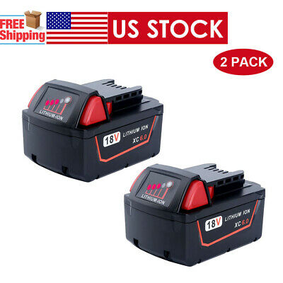 2X For Milwaukee M18 Red Lithium XC 6.0 AH Extended Capacity Battery 48-11-1852