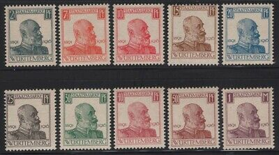 Germany Wurttemberg 1916 King Wilhelm Official set Sc# O136-45 NH