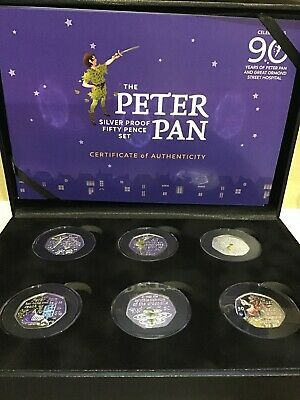 2019 Peter Pan Silver Proof 50p Coloured Coin Set IN HAND LOW COA 95