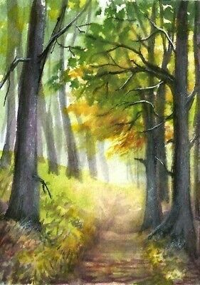 ACEO Fall road painting original Autumn trees landscape watercolour art card