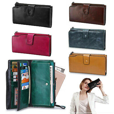 Wallet Purse Bag Holder Women RFID Blocking Leather Clutch Coin Card Phone