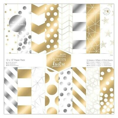 12 x 12 Paper Pack (36pk) - Modern Lustre - Docrafts Papermania Gold Silver
