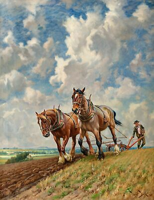 Handmade Oil Painting repro Wright Barker, Ploughing the Fields