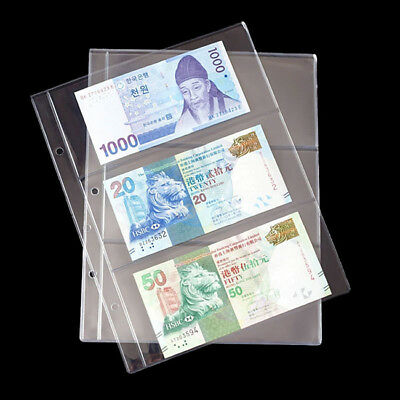Banknote Currency Album Sleeves Pages Paper Money Storage Holder 3 Pockets HC