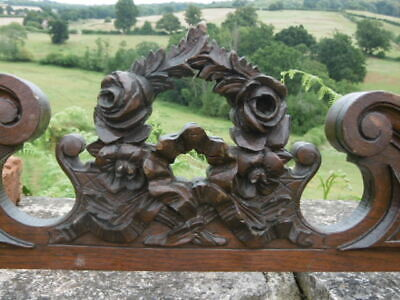 SUPERB 19thc ART NOUVEAU OAK CARVED PEDIMENT WITH FLORAL GARLAND & RIBBON