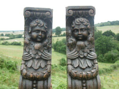 SUPERB Pr 19thc OAK CARVED CHERUB CARYATID CORBELS WITH FRUIT SPRAY C.1840