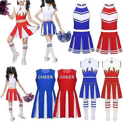 Girls Cheerleader Costume Childs Cheer Leader Fancy Dress Dance Show Outfits