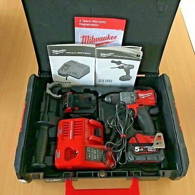 """Milwaukee M18FPD2-502X 1/2"""" Fuel Percussion Drill with 2 X 5.0Ah Batteries *KIT*"""