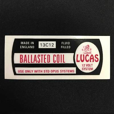 Lucas 13C12 Ballasted Coil Sticker Vintage Classic Car Fluid Filled STD Opus
