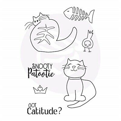 Prima Marketing Julie Nutting Mixed Media Cling Rubber Stamp-snooty Cats