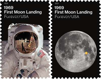 #5399- 5400a 2019 Moon Landing 50th Anniv Singles - MNH (Ships after July 19)