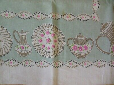 Vintage Linen Tablecloth Pink Mint Green Tea Time 50 by 67