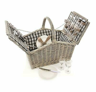 Premier Ascot Fitted Willow Picnic Basket Hamper Bag 4 People with Accessories