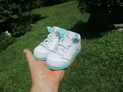 best authentic c6780 74b9c AIR JORDANS RETRO 5 Baby Size 8c White Blue Gold Sneakers ...