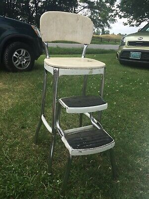 Vtg Mid Century Cosco Step Stool Kitchen Seat Chair Pull Out Steps White MCM