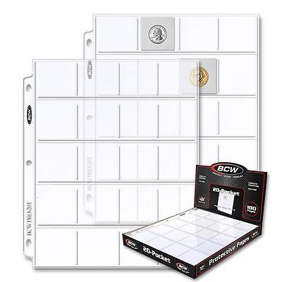 10 New BCW 20 Pocket Pages Sheets for 2X2 Coin Holders Slide Storage - loose