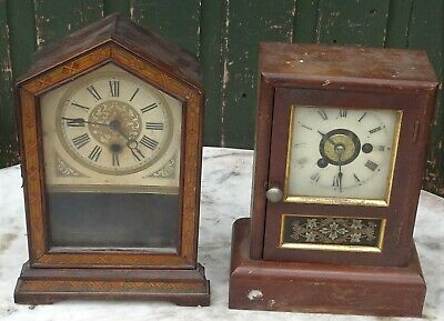 2 Old Small Wooden Mantle Clocks To Tidy Up
