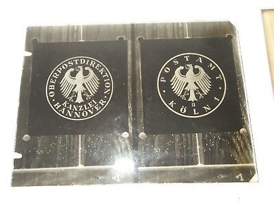 3 alte Glas Photo Platten, Negative, Wappen,  Stempel.