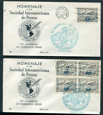 HABANA  C151 Block & Single  On  FIRST DAY  Covers  1956  UPTOWN 51043