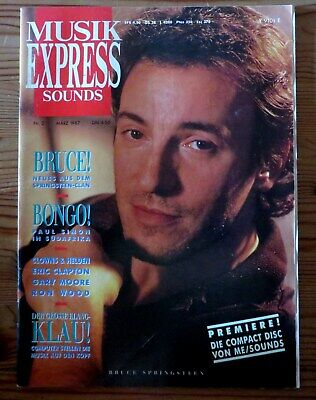 Musik Express Sounds 03/87 Cover:Bruce Springsteen,Iggy Pop,Eric Clapton,Paul Si