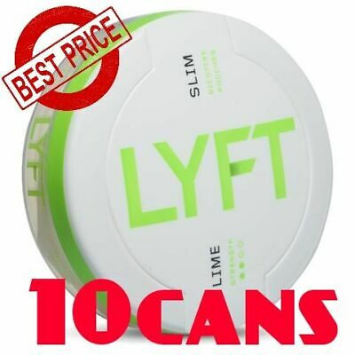 10 Cans! LYFT Lime 8mg Slim Snus ALL White Nicotine New Without tobacco