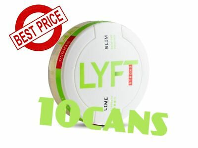 10 Cans! LYFT Lime Strong 14mg Slim Snus ALL White Nicotine New Without tobacco