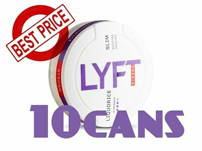 10 Cans! LYFT Liquorice Slim Strong Snus ALL White Nicotine New Without tobacco